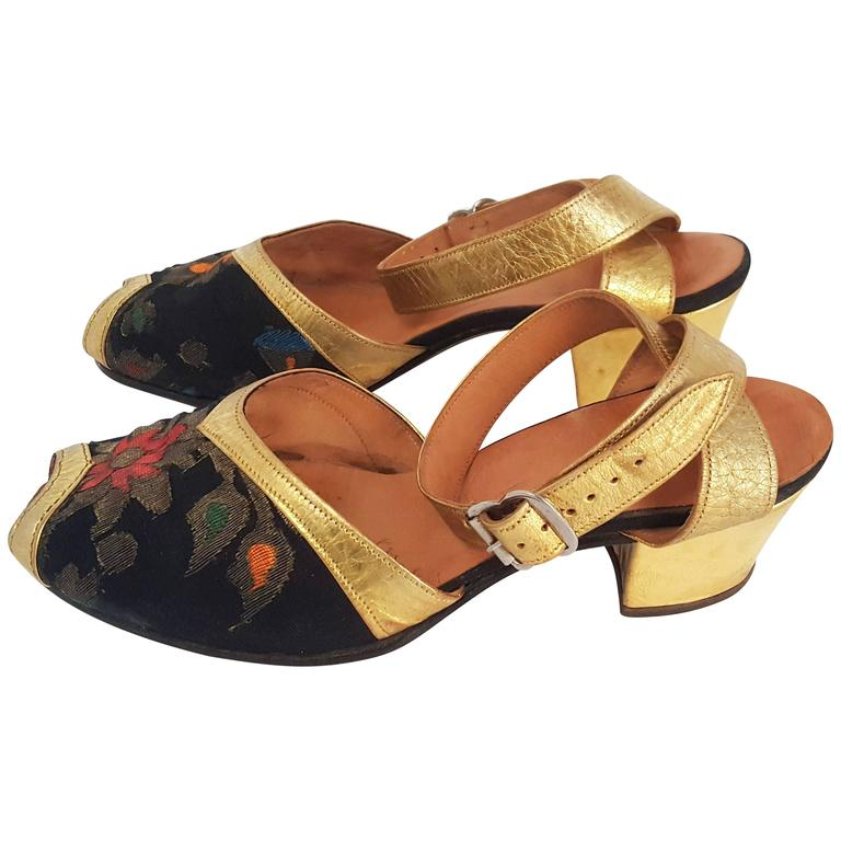 1930s Gold and Brocade Sandals  For Sale