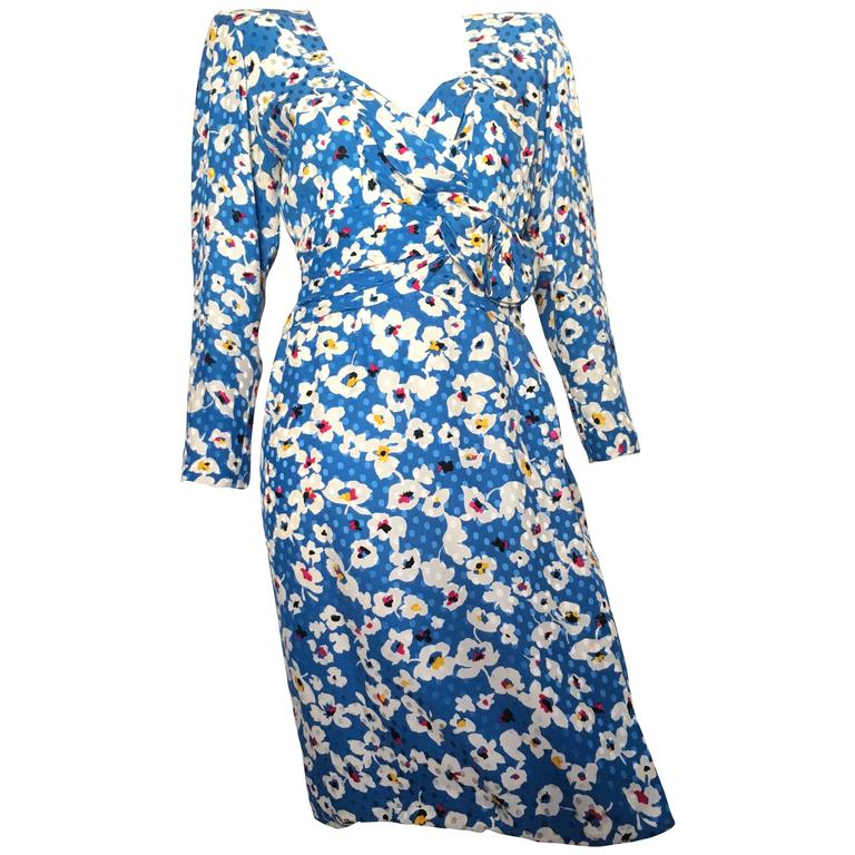 Nina Ricci Silk Floral Sheath Dress Size 4 / 6.