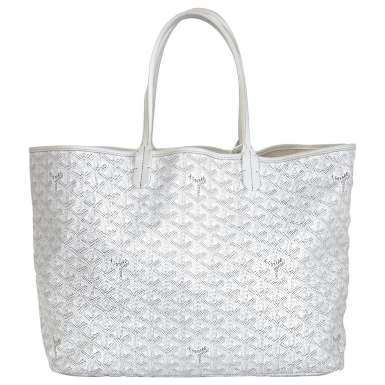 Goyard White St Louis Pm Chevron Tote Bag For
