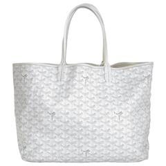 Goyard White St. Louis PM Chevron Tote Bag