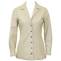 1970s Anne Klein Beige Leather Jacket