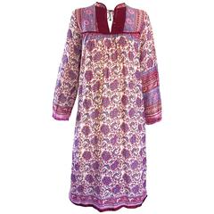 Chic 1970s Pink Purple Paisley and Flowers Ethnic Boho Hippie Vintage 70s Dress