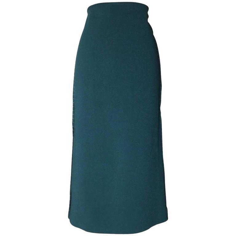 Oscar de la Renta 2013 Runway Teal Blue Green Bodycon Knit Midi Skirt