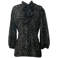 Dolce & Gabbana Black White Star Print Semi Sheer Pussy Bow Blouse