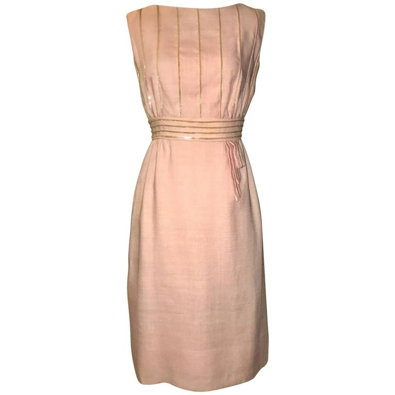 Peggy Hunt 1960s Pink Linen Sleeveless Shift Dress with Sequin Embellishment