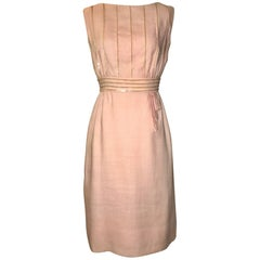 Peggy Hunt Pink Linen Sleeveless Shift Dress with Sequin Embellishment, 1960s
