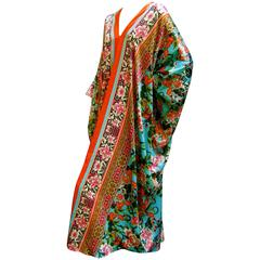 Natori Vibrant Floral Print Caftan Lounge Gown