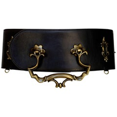 Moschino Door Knocker Black Leather Belt