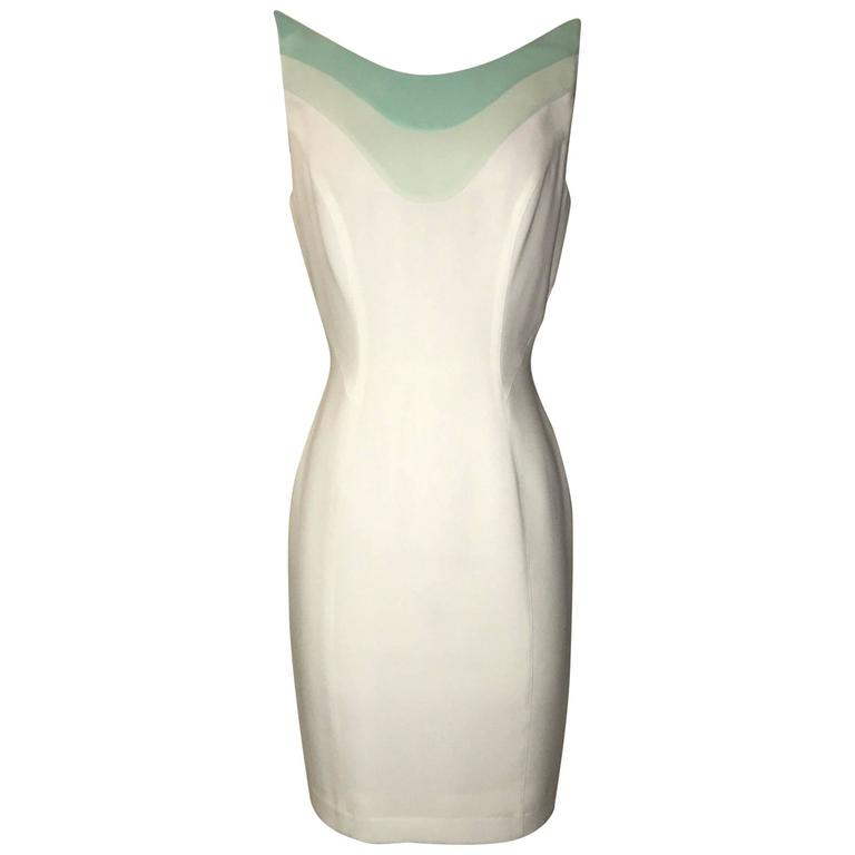 Thierry Mugler White Crepe Dress with Space Age Aqua Blue Detail, 1980s