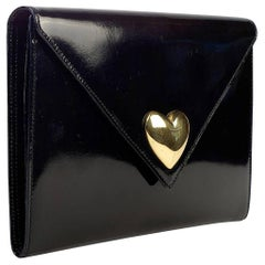 Moschino Patent Leather Clutch w/ Heart Shaped Closure
