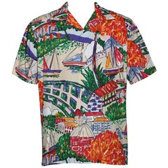 Polo Ralph Lauren California Boat Print Hawaiian Style Polo Shirt