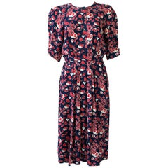 Saint Laurent Floral Pattern Silk Casual Dress