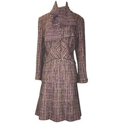 Chanel 03A Multicolor A-Line Skirt Suit Ensemble with Scarf