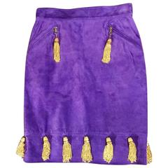 Moschino Vintage 1980s Purple Violet Suede Pencil Skirt  Gold Tassel Thimbles