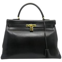 Hermes Vintage Kelly 35 Noir Black Box Calf Leather Gold Metal Top Handle Bag