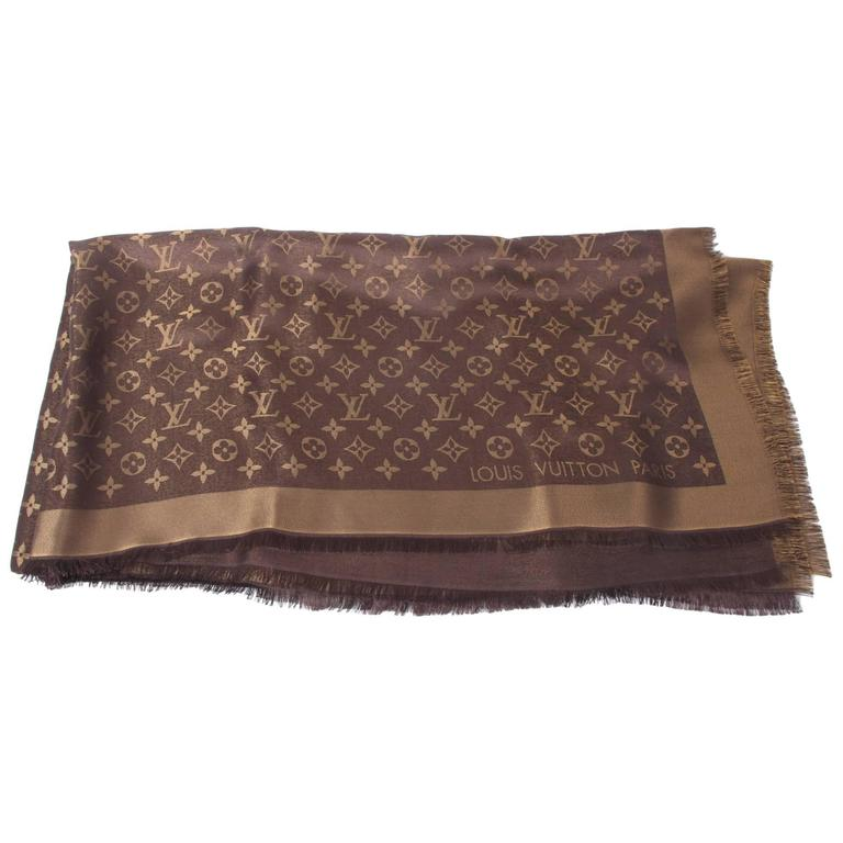 a11ab8ed167c Louis Vuitton Monogram Scarf - Brown and Gold at 1stdibs