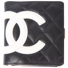 Chanel Quilted Ligne Cambon Billfold Compact Wallet - black & white