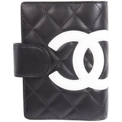 Chanel Quilted Ligne Cambon Agenda Cover - black & white