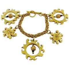 Christian Lacroix Vintage Gold Toned Sun Charms Bracelet