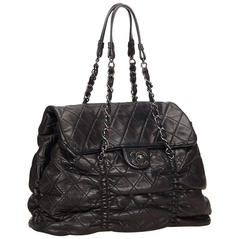 Chanel Black Quilted Lambskin Leather Matelasse Tote Bag For
