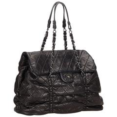 Chanel Black Quilted Lambskin Leather Matelasse Tote Bag