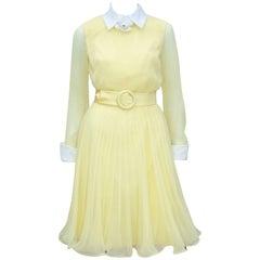 C.1970 Miss Elliette Sunny Yellow Chiffon Dress