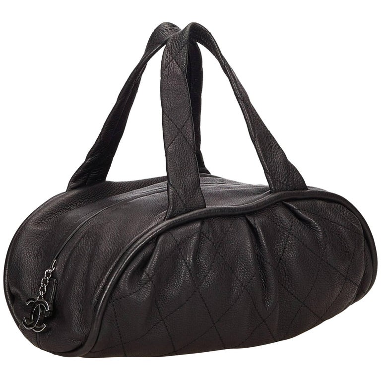 Chanel Black Leather Le Marais Bowler Bag For Sale