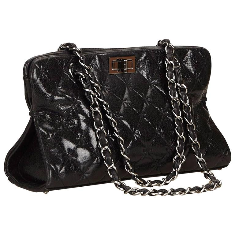 Chanel Black Quilted Patent Reissue 2.55 Chain Shoulder Bag  For Sale