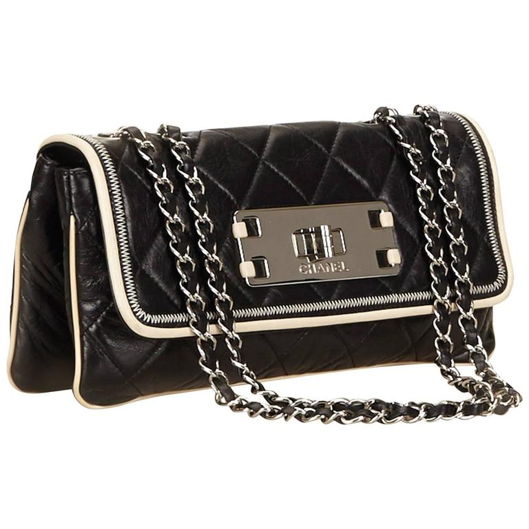 Chanel Black Quilted Leather East West Flap Bag  For Sale