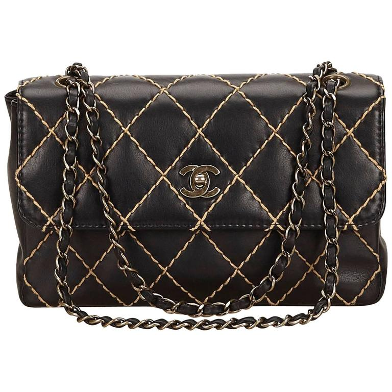 cb411a2c157f6 Chanel Black and Beige Wild Stitch Calfskin Chain Flap Bag at 1stdibs