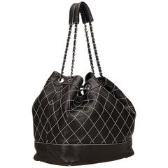 Chanel Black and White Wild Stitch Drawstring Tote Bag