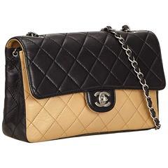 Chanel Back and Beige Quilted Lambskin Matelassé Shoulder Flap Bag