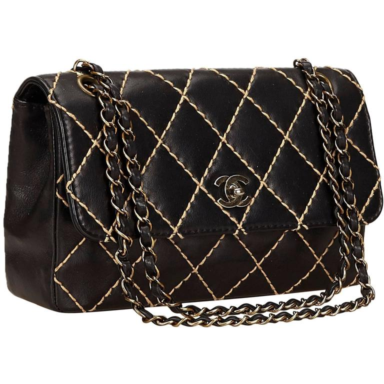 fed1d71d04bf Chanel Black Quilted Lambskin Wild Stitch Flap Bag at 1stdibs