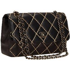 Chanel Black Quilted Lambskin Wild Stitch Flap Bag