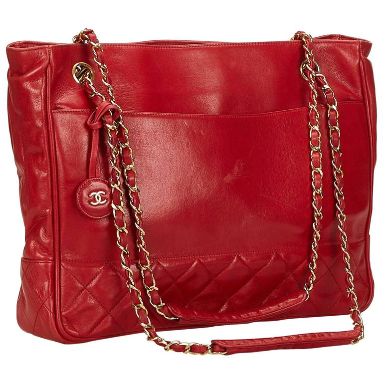 Chanel Red Lambskin Leather Shoulder Bag
