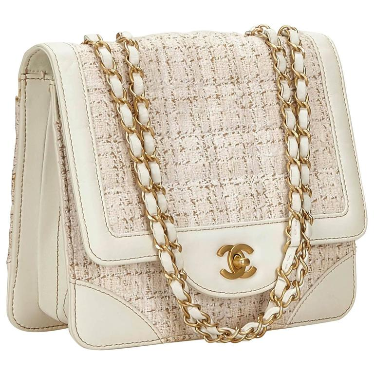 Chanel White and Ivory Tweed Leather Flap Chain Shoulder Bag at 1stdibs cc85de7cf51f