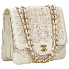 Chanel White and Ivory Tweed/Leather Flap Chain Shoulder Bag