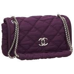 Chanel Purple Quilted Nylon Bubble Chain Shoulder Bag