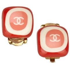 """Chanel Pink and White Enamel """"CC"""" Logo Clip On Earrings"""