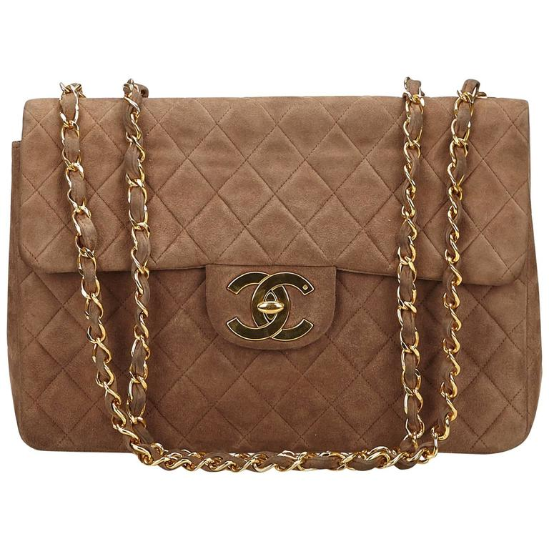 Excellent Chanel Brown Quilted Suede Maxi Shoulder Flap Bag at 1stdibs CV09