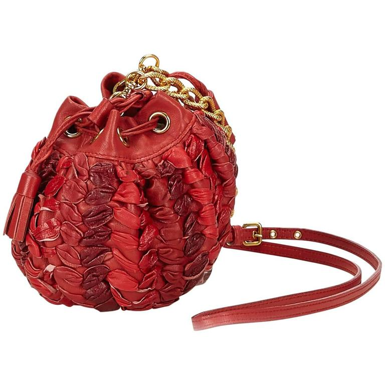 Miu Miu Red Leather Shoulder Bag With Strap For Sale at 1stdibs c99abadfdbe19