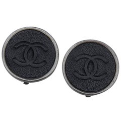 """Chanel Black Leather Silver Toned """"CC"""" Logo Clip On Earrings"""