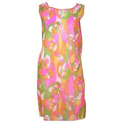 1960's Mod Beau Monde Go Go Neon Pink Paper Dress