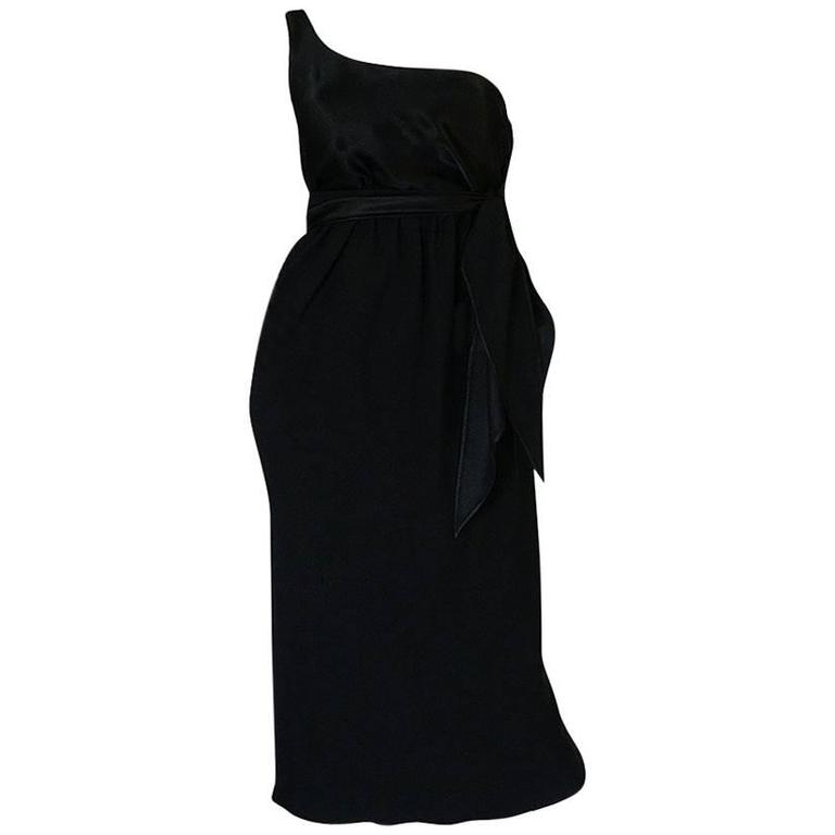 Documented 1983 Halston Black One Shoulder Wrap Dress