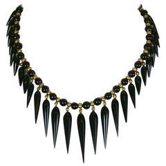 Lovely Victorian Onyx Tear Drop Collar