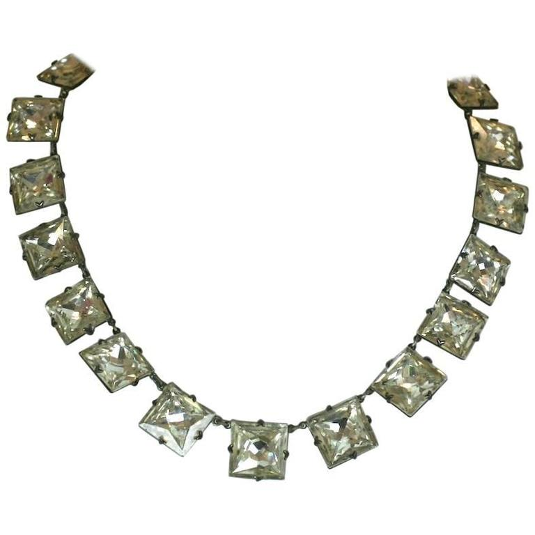 Art Deco Crystal Paste Riviere Necklace For Sale At 1stdibs