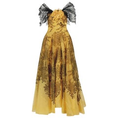 1950's Sydonia Couture Yellow Silk-Organza & Black Chantilly-Lace Applique Gown