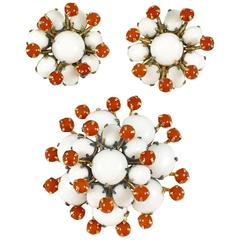 1950s Schreiner White and Orange Brooch and Earring Set