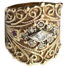 14k Circa 1940s Cigar Band Ring