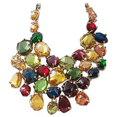 Rare Yves Saint Laurent Giant Chunky Gem Necklace, Circa 1987